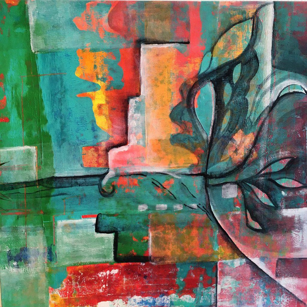 Peinture Abstraite Jungle Urbaine Originale Sur Toile Lin Art Contemporain Déco Maison Style Tropical