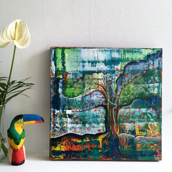 bluevertsoul-tym-peinture-decoration mural-jungle urbaine-colorful mixed media painting-wall décor - art at home