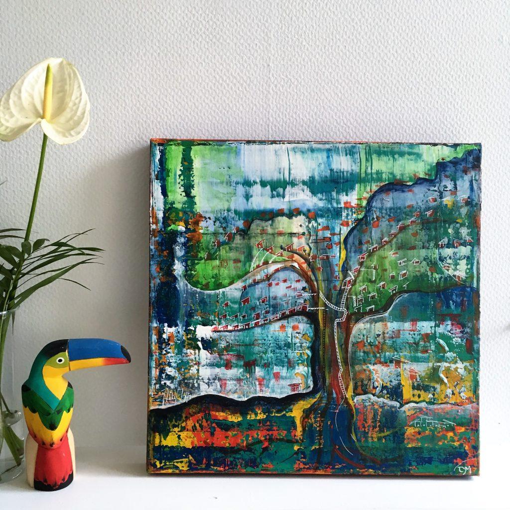 Peinture originale en acrylique sur toile,