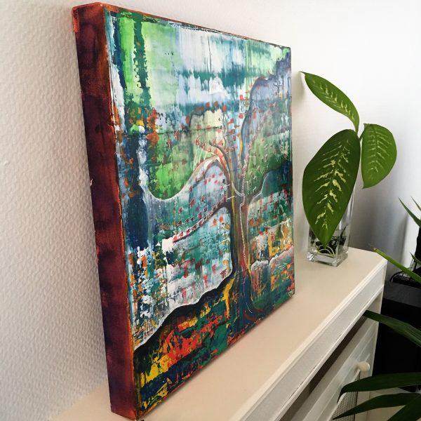 bluevert soul-tym-peinture abstraite- style jungle urbaine-detaol-decoration interieure-colorful painting wall hanging decor