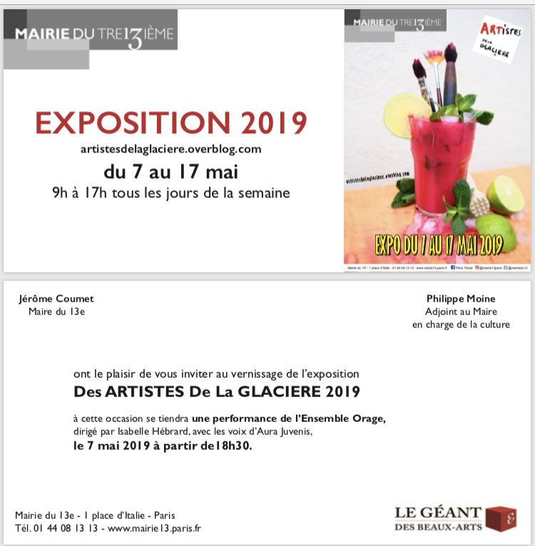 Invitation vernissage exposition collective d'art Mairie Paris 13